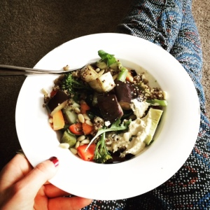Aubergine, avocado, quinoa and pine nut salad
