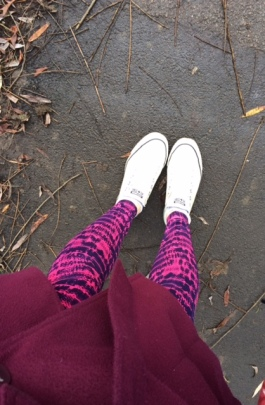 New jazzy leggings, en route to try out a new yoga centre