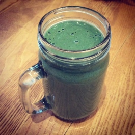 NutriBulletted breakfast smoothie with oats and spriulina
